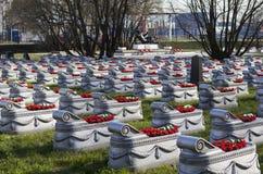 St PIETROBURGO, RUSSIA - 27 APRILE 2015: Foto della sepoltura uccisa nella guerra con la Finlandia nel 1939-1940 Immagine Stock