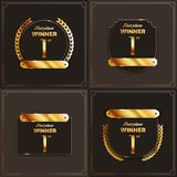 1st place logo`s with laurels and ribbons. Vector illustration Vector Illustration
