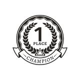 1st Place Medal for Champion Monochrome Logotype. Award or reward that given in sport championship emblem isolated cartoon flat vector illustration stock illustration