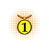 1st place medal comics icon. Isolated on white background Royalty Free Stock Photos