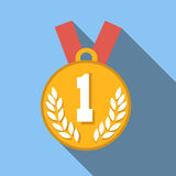 1st place medal flat icon. Colored flat image with long shadow on blue background Vector Illustration