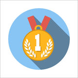 1st place medal flat icon. Isolated on white background Vector Illustration