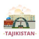 St plano de la historieta de la plantilla del diseño del país de Tayikistán