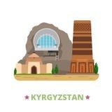 St plat de bande dessinée de calibre de conception de pays du Kirghizistan illustration libre de droits