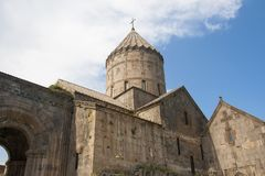 The St. Pogos-Petros Cathedral St. Paul and Peter`s Apostles is the largest building of the Tatev Monastery Complex. It was erected in 895 year. Armenian Royalty Free Stock Image