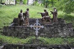 1st Post van het Kruis met Jesus van Sainte Anne de Baupre Sanctuary van Quebec Royalty-vrije Stock Fotografie