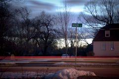 St principale di Snowy, U.S.A. al crepuscolo Immagini Stock