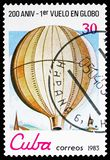 1st public flight of non-manned Montgolfier, 1783, Bicentenary of Aeronautics serie, circa 1983. MOSCOW, RUSSIA - NOVEMBER 10, 2018: A stamp printed in Cuba royalty free stock images
