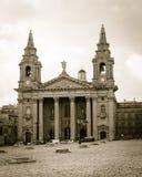 St Publius kościół katolickiego fasada, Floriana Obraz Royalty Free