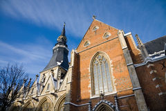 St. Quentin's Cathedral, Hasselt. The medieval Saint Quentin's cathedral in the city of Hasselt in Belgium during a sunny winter day Royalty Free Stock Image
