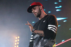 ST rapper on stage in Moscow Stock Photos