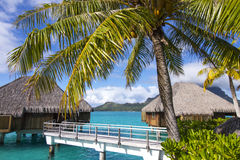 St regis bora bora over water overwater bungalows. Bungalow stock image