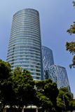 St. Regis tower at Mexico city. MEXICO CITY,MEXICO-SEPTEMBER 14,2016: View from below of the St. Regis hotel tower on a clear sunny day at Mexico city,Mexico Stock Images