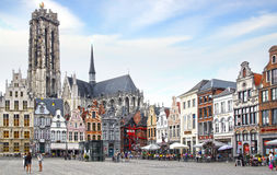 St. Rumbold's Cathedral at Grote Markt. Mechelen Stock Photography