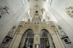 St. Rumbold's Cathedral. MECHELEN, BELGIUM-DECEMBER 29, 2013: Interior of St. Rumbold's Cathedral. This cathedral was consecrated in 1312 Royalty Free Stock Photos