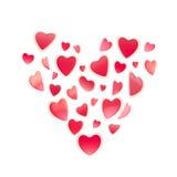 St. Símbolo do Valentim feito dos corações isolados Imagens de Stock Royalty Free
