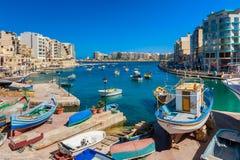 St ` s Juliańska zatoka Malta Fotografia Royalty Free