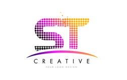 ST S T Brief Logo Design met Magenta Punten en Swoosh stock illustratie