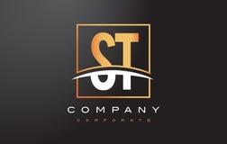 ST S T Gouden Brief Logo Design met Gouden Vierkant en Swoosh Royalty-vrije Stock Afbeeldingen