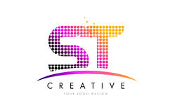 ST S T Letter Logo Design with Magenta Dots and Swoosh. ST S T Dots Letter Logo Design with Magenta Bubble Circles and Swoosh stock illustration