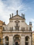 St. Salvator Church, Prague. St. Salvator church is a city landmark, a large majestic church set at one end of Charles Bridge, proudly marking the entrance to Stock Photo