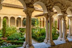 St. Sauveur cloister at the Cathedral in Aix-en-Provence, France stock photography