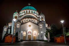 St Sava大教堂在晚上 贝尔格莱德塞尔维亚 图库摄影