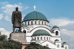 St. Sava Cathedral and Karadjordje statue. Belgrade, Serbia royalty free stock image