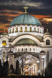 St Sava Church Illuminated At Night - Belgrado - república do SE fotografia de stock royalty free