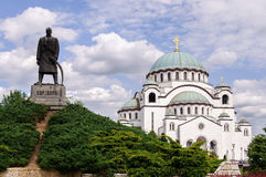 St. Sava temple in Belgrade. St. Sava temple and statue of Karadjordje in Belgrade, Serbia Royalty Free Stock Photography