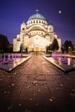 St Sava Temple i Belgrade Nightscape Royaltyfri Fotografi