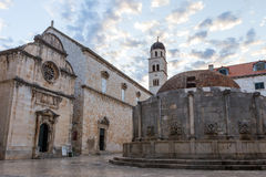 St. Saviour Church and Onofrio's Fountain in Dubrovnik Stock Photo