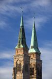 St Sebaldus Church. Close-up on steeples of St Sebaldus Church, Nuremberg, Germany Stock Photos