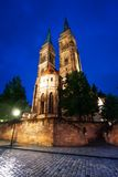 St. Sebaldus church night view in Nuremberg Royalty Free Stock Image