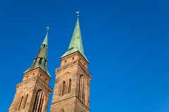 St. Sebaldus Church, Nuremberg, Germany. The Towers of St. Sebaldus Church in Nuremberg (Nürnberg), Germany Stock Photography