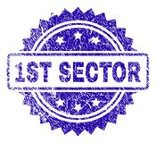 Scratched 1ST SECTOR Stamp Seal. 1ST SECTOR stamp imprint with scratched style. Blue vector rubber seal print of 1ST SECTOR text with scratched texture vector illustration