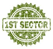 Scratched Textured 1ST SECTOR Stamp Seal. 1ST SECTOR stamp seal watermark with rubber print style. Green vector rubber print of 1ST SECTOR title with dust vector illustration