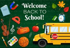 1 st September. Back to school, stationery items. Welcome back to school, 1st September time to start lessons. Vector green chalkboard with formulas, bus stock illustration