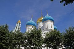 St. sergius domes. The domes of the historic st. sergius church at zagorsk in russia stock photography