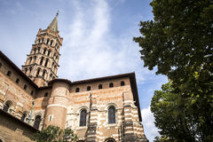 St Sernin Basilica i Toulouse Frankrike Arkivbild