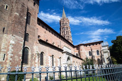 St Sernin Church. In France, Toulouse, south west Europe within the pink city Royalty Free Stock Photos