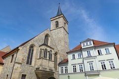 St Severi kerk in Erfurt stock foto