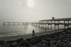 St. Simons Fishing Pier and beach on a bright, foggy day Royalty Free Stock Photo