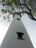 St Simons Georgia Lighthouse i träd royaltyfri foto