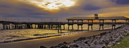 St. Simons Island, GA, fishing pier at late sunset Royalty Free Stock Photography