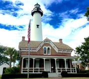 St Simons Island Lighthouse. Historic lighthouse in the village on St Simons Island, GA Royalty Free Stock Photography
