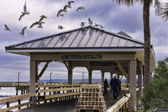 St Simons Island Pier at sunset in winter Stock Images