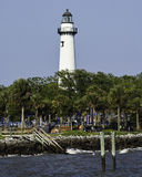 St. Simons Lighthouse as seen from the fishing pie Stock Photography