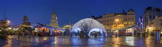 St. Sofia's Square in Kyiv. On the New Year's holidays Royalty Free Stock Photo
