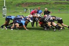 2009 21st som februari för bolldorset motsättande packe för den östliga eastleigh matchen satte ner rugbyscrumlag två uk vs Royaltyfri Foto
